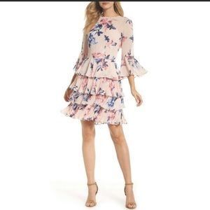 Eliza J Bell sleeve Tiered floral dress